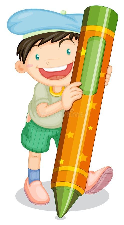 Αγόρι με το μολύβι ελεύθερη απεικόνιση δικαιώματος