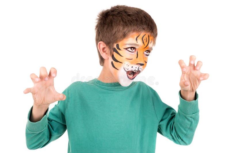 Αγόρι με το πρόσωπο-χρώμα στοκ φωτογραφίες με δικαίωμα ελεύθερης χρήσης