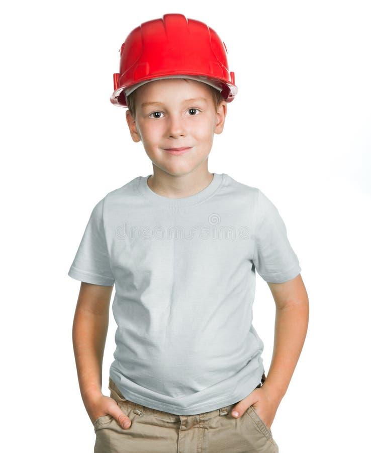 Αγόρι με το σκληρό καπέλο στοκ φωτογραφία με δικαίωμα ελεύθερης χρήσης