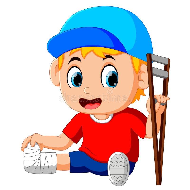 Αγόρι με το σπασμένο πόδι ελεύθερη απεικόνιση δικαιώματος