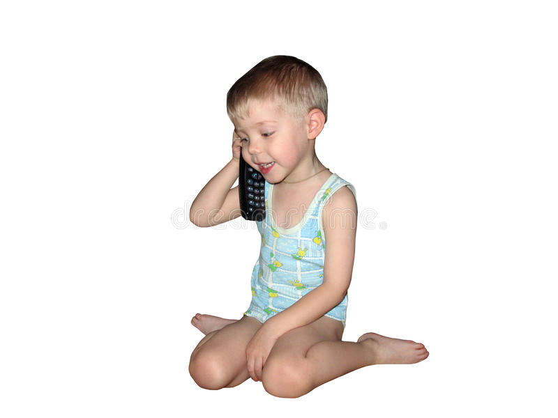 Αγόρι με το τηλέφωνο που απομονώνεται στοκ φωτογραφίες