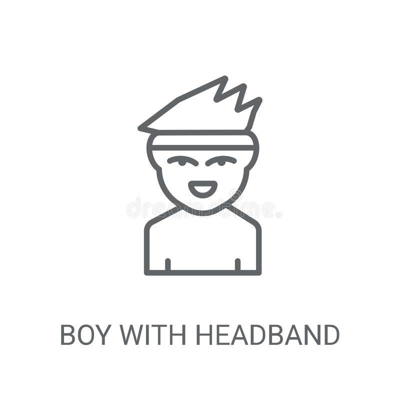 Αγόρι με headband το εικονίδιο Καθιερώνον τη μόδα αγόρι με headband την έννοια λογότυπων επάνω διανυσματική απεικόνιση