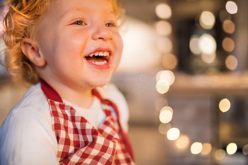 Αγόρι μικρών παιδιών στην κουζίνα στο χρόνο Χριστουγέννων στοκ εικόνα