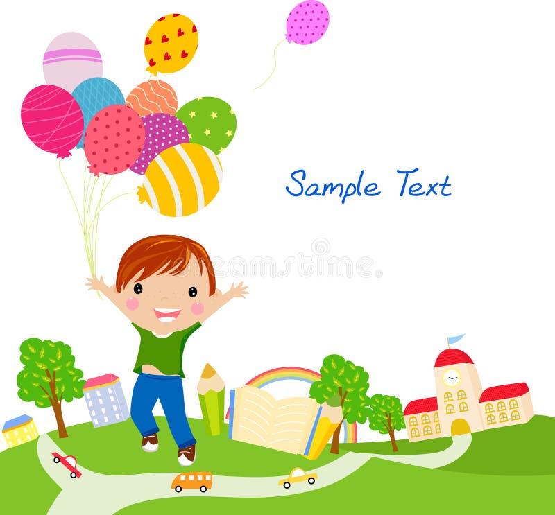 αγόρι μπαλονιών χαριτωμένο & απεικόνιση αποθεμάτων