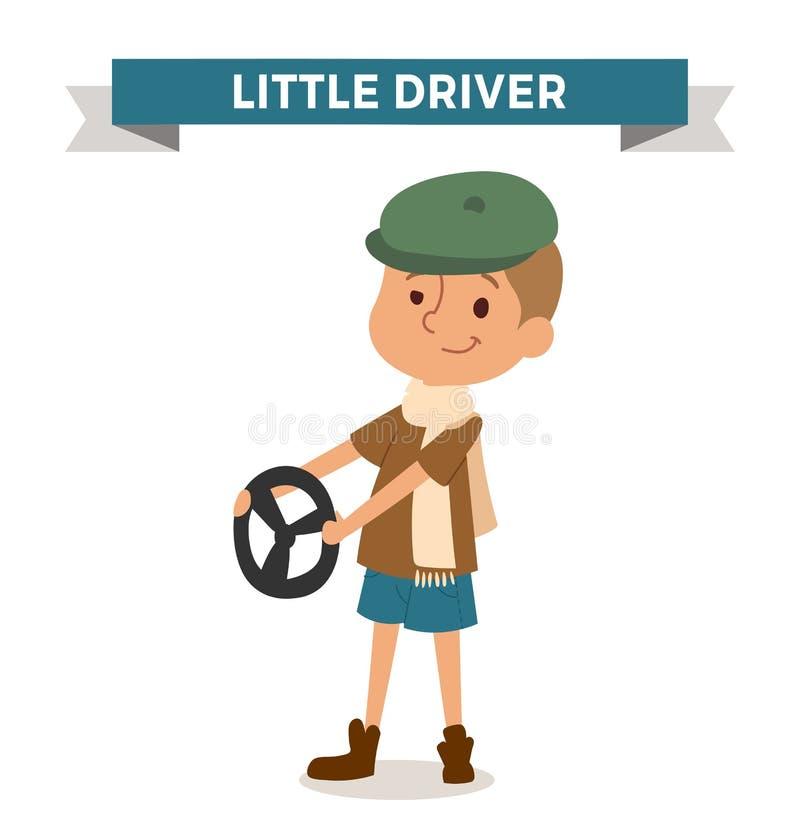 Αγόρι οδηγών με το αυτοκίνητο αγενές που απομονώνει στο λευκό διανυσματική απεικόνιση