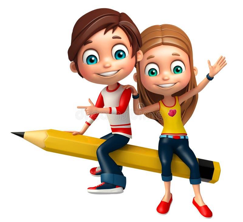 Αγόρι παιδιών με και μολύβι κοριτσιών ελεύθερη απεικόνιση δικαιώματος