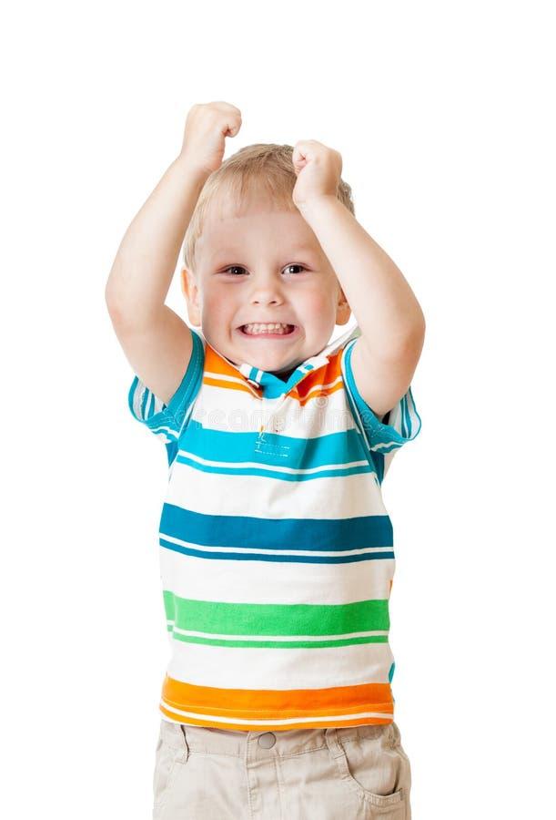 Αγόρι παιδιών με τα χέρια που απομονώνεται επάνω στο λευκό στοκ εικόνες