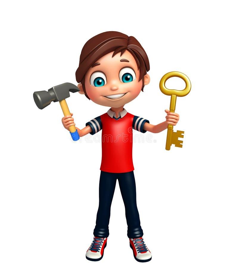 Αγόρι παιδιών με το κλειδί & το σφυρί απεικόνιση αποθεμάτων