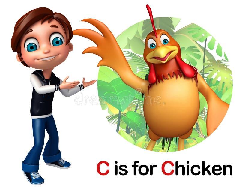 Αγόρι παιδιών που δείχνει το κοτόπουλο απεικόνιση αποθεμάτων