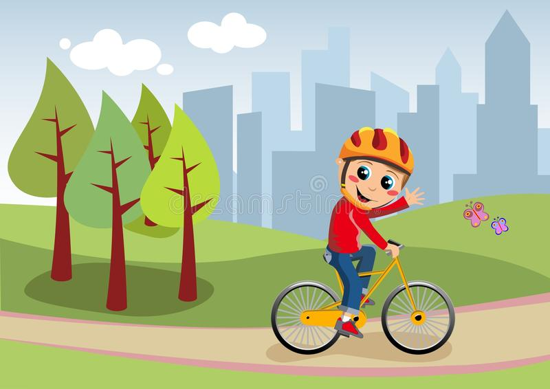 Αγόρι ποδηλάτων στο πάρκο πόλεων απεικόνιση αποθεμάτων