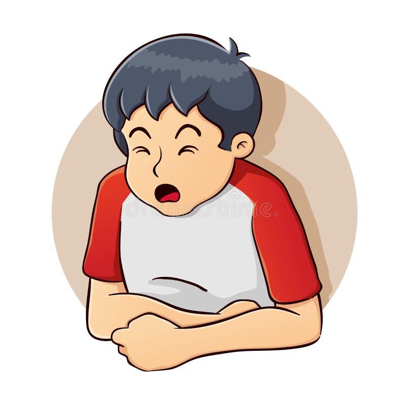 Αγόρι που έχει ένα πρόβλημα στομαχιών ελεύθερη απεικόνιση δικαιώματος