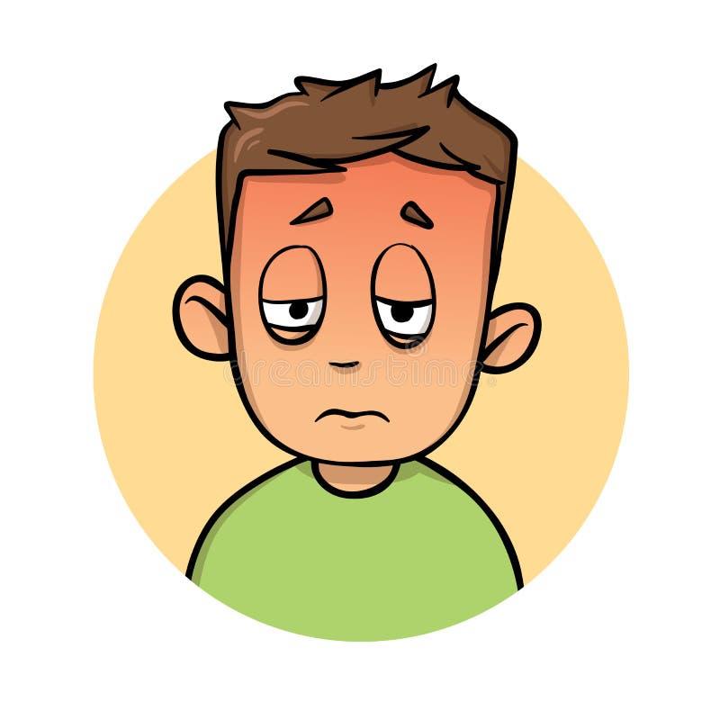 Αγόρι που αισθάνεται καυτό και άρρωστο Θερμότητα, κτύπημα ήλιων, ασθένεια Επίπεδη διανυσματική απεικόνιση η ανασκόπηση απομόνωσε  απεικόνιση αποθεμάτων