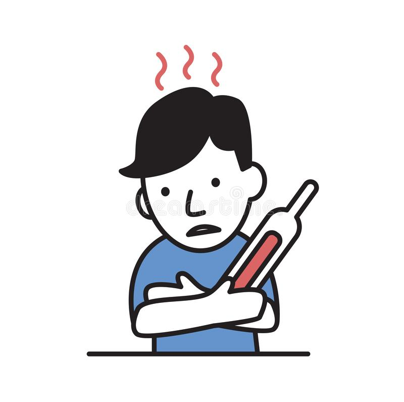 Αγόρι που αισθάνεται καυτό και άρρωστο Θερμότητα, κτύπημα ήλιων, ασθένεια Επίπεδη διανυσματική απεικόνιση η ανασκόπηση απομόνωσε  διανυσματική απεικόνιση