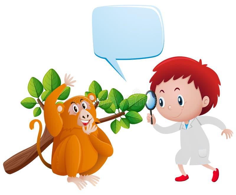 Αγόρι που εξετάζει τον πίθηκο και τα φύλλα απεικόνιση αποθεμάτων