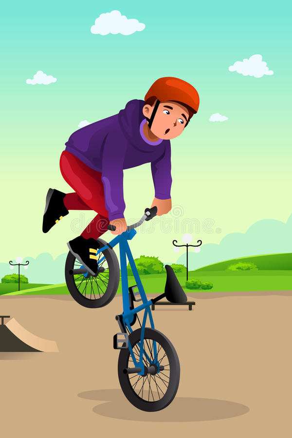 Αγόρι που κάνει μια ακροβατική επίδειξη ποδηλάτων απεικόνιση αποθεμάτων