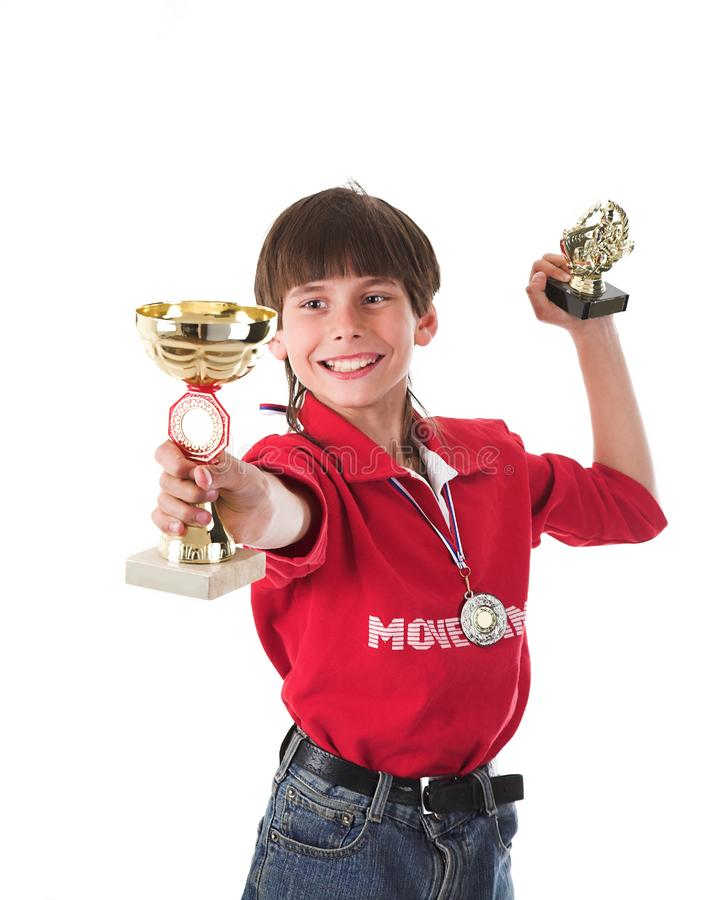 Αγόρι που κερδίζει σε ανταγωνισμό στοκ φωτογραφίες