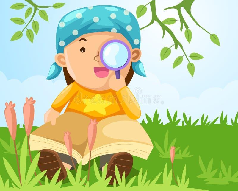 Αγόρι που κοιτάζει μέσω μιας ενίσχυσης - γυαλί διανυσματική απεικόνιση
