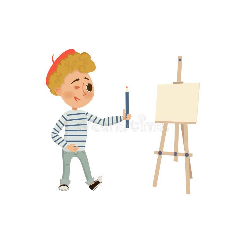 Αγόρι που κρατά ένα μολύβι Easel καλλιτεχνών η ανασκόπηση απομόνωσε το λευκό Διανυσματική απεικόνιση κινούμενων σχεδίων στο επίπε διανυσματική απεικόνιση