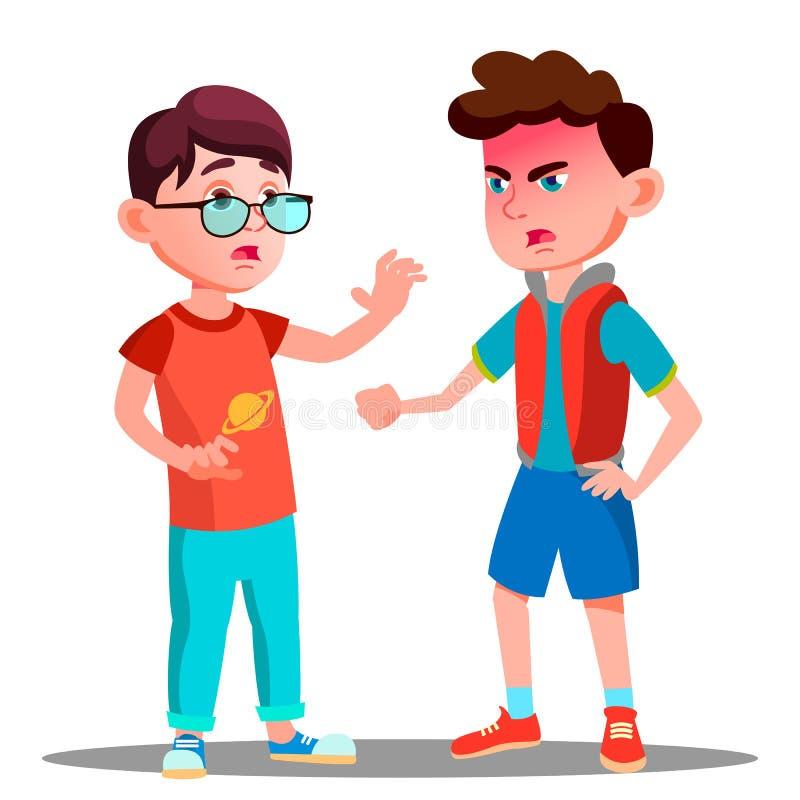 Αγόρι που κραυγάζει στο διάνυσμα φίλων απομονωμένη ωθώντας s κουμπιών γυναίκα έναρξης χεριών απεικόνιση διανυσματική απεικόνιση