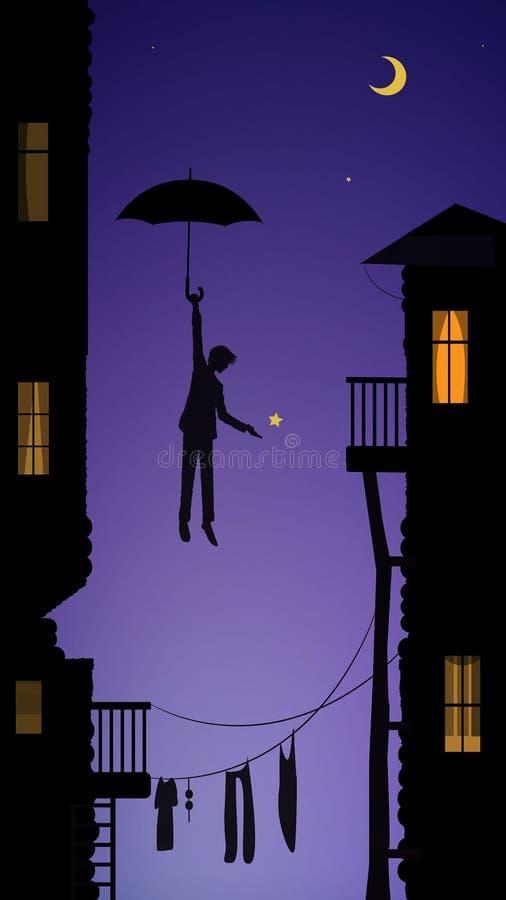 Αγόρι που κρεμά το φεγγάρι, ονειροπόλος στην πόλη, σκηνή παραμυθιού στην πόλη στοκ φωτογραφία