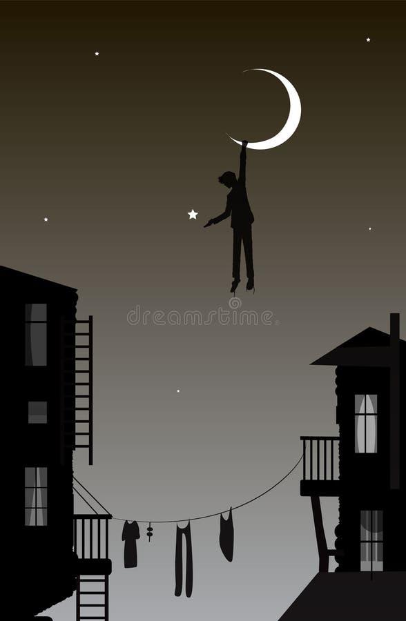 Αγόρι που κρεμά το φεγγάρι, ονειροπόλος στην πόλη, σκηνή παραμυθιού στην πόλη, ελεύθερη απεικόνιση δικαιώματος