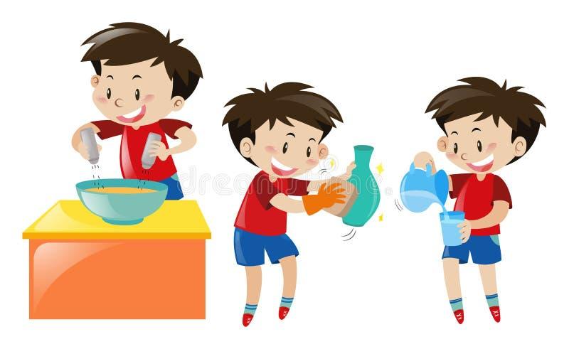 Αγόρι που μαγειρεύει και που καθαρίζει διανυσματική απεικόνιση