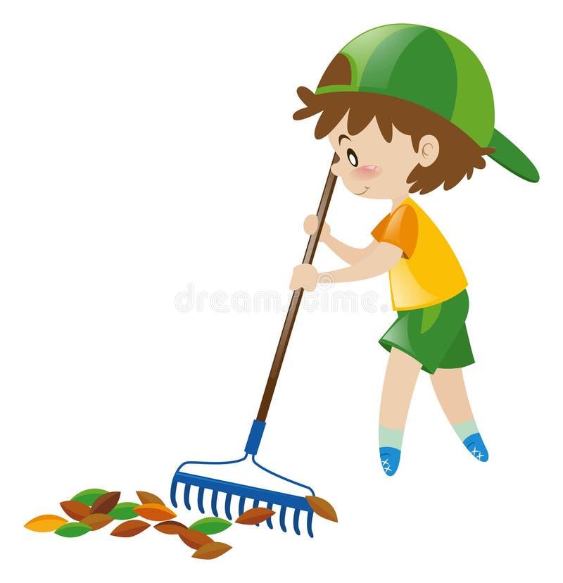 Αγόρι που μαζεύει με τη τσουγκράνα τα ξηρά φύλλα ελεύθερη απεικόνιση δικαιώματος