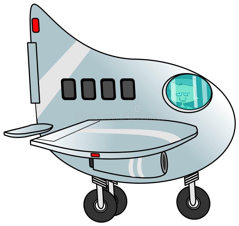 Αγόρι που οδηγά ένα αεροπλάνο αεριωθούμενων αεροπλάνων ελεύθερη απεικόνιση δικαιώματος