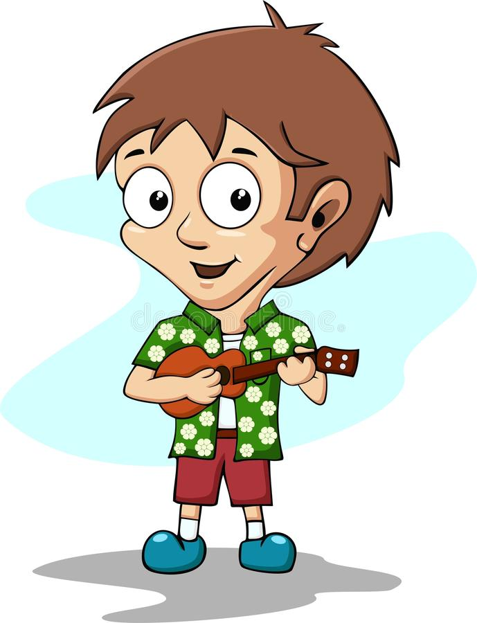 Αγόρι που παίζει ukulele απεικόνιση αποθεμάτων