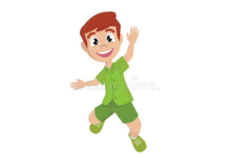 Αγόρι που πηδά από την ευτυχία απεικόνιση αποθεμάτων