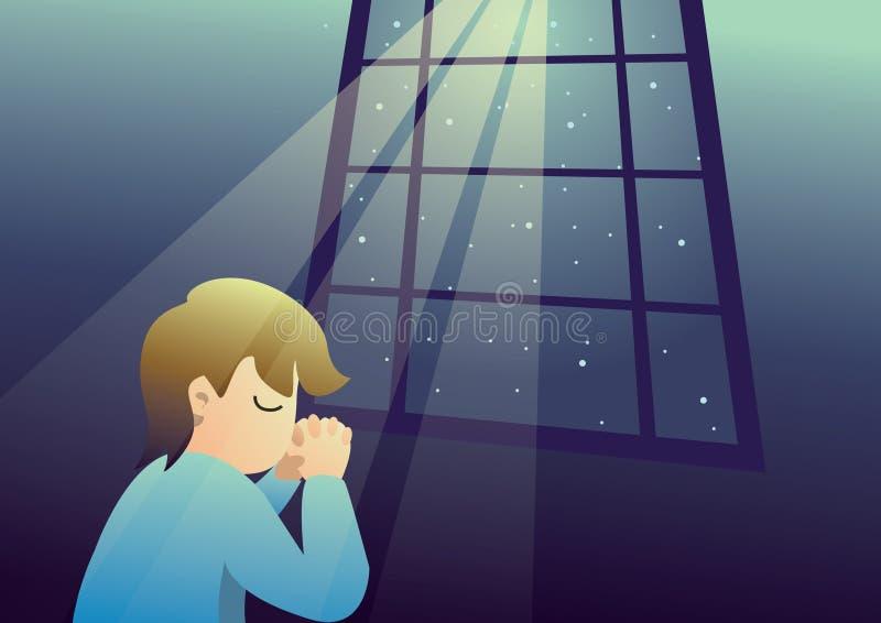 αγόρι που προσεύχεται τη νύχτα στο Θεό διανυσματική απεικόνιση