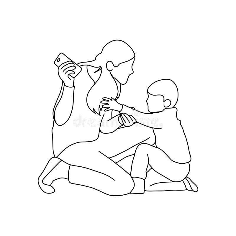 Αγόρι που προσπαθεί να πάρει το κινητό τηλέφωνο από το διάνυσμα μητέρων του illustrat απεικόνιση αποθεμάτων