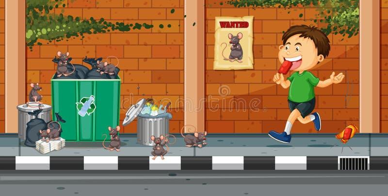 Αγόρι που ρίχνει τα απορρίμματα στην οδό διανυσματική απεικόνιση