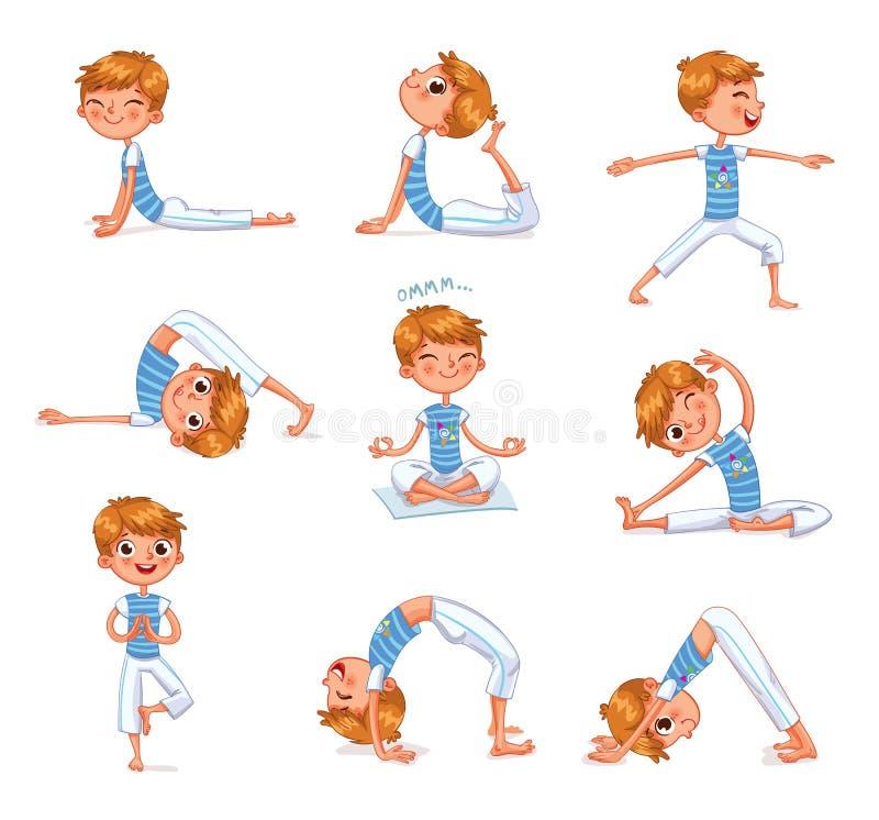 Αγόρι που συμμετέχεται στις σωματικές ασκήσεις Παιδί γιόγκας ελεύθερη απεικόνιση δικαιώματος