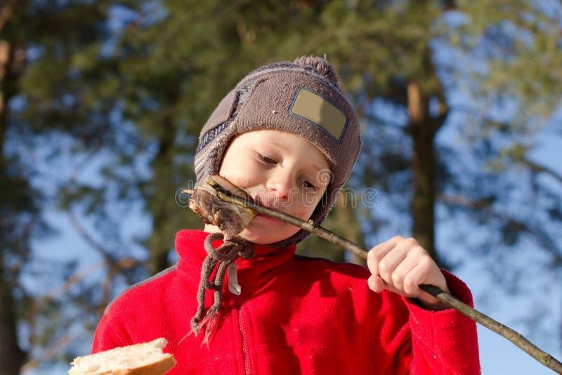 Αγόρι που τρώει shish kebab στη φύση το χειμώνα στοκ φωτογραφίες με δικαίωμα ελεύθερης χρήσης