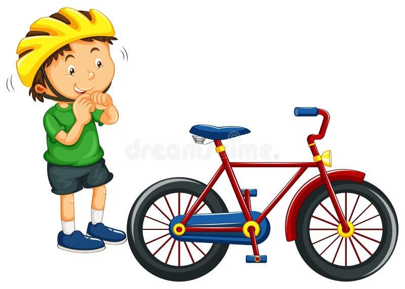 Αγόρι που φορά το κράνος πρίν οδηγά το ποδήλατο απεικόνιση αποθεμάτων