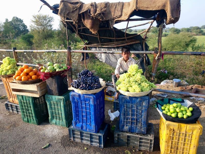 αγόρι πωλητών φρούτων στοκ εικόνα