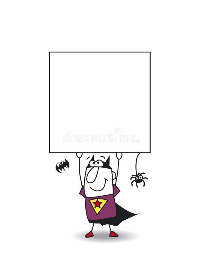 Αγόρι ροπάλων Superhero με μια πινακίδα διανυσματική απεικόνιση