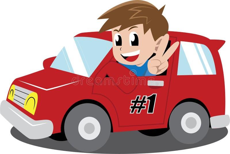 Αγόρι σε ένα αυτοκίνητο διανυσματική απεικόνιση