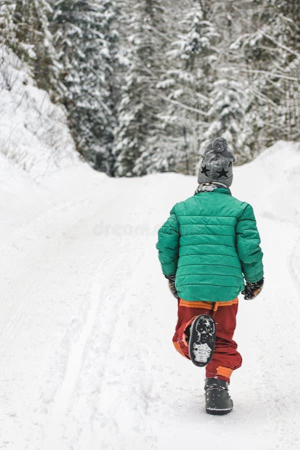 Αγόρι σε ένα πράσινο σακάκι και κόκκινα τρεξίματα εσωρούχων κατά μήκος ενός χιονώδους δρόμου σε μια κωνοφόρη δασική χειμερινή ημέ στοκ φωτογραφίες