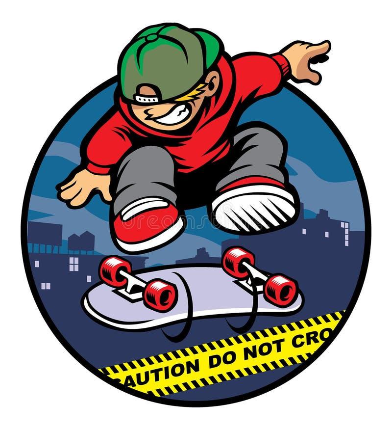 Αγόρι σκέιτερ που κάνει kickflip πέρα από τη γραμμή αστυνομίας ελεύθερη απεικόνιση δικαιώματος