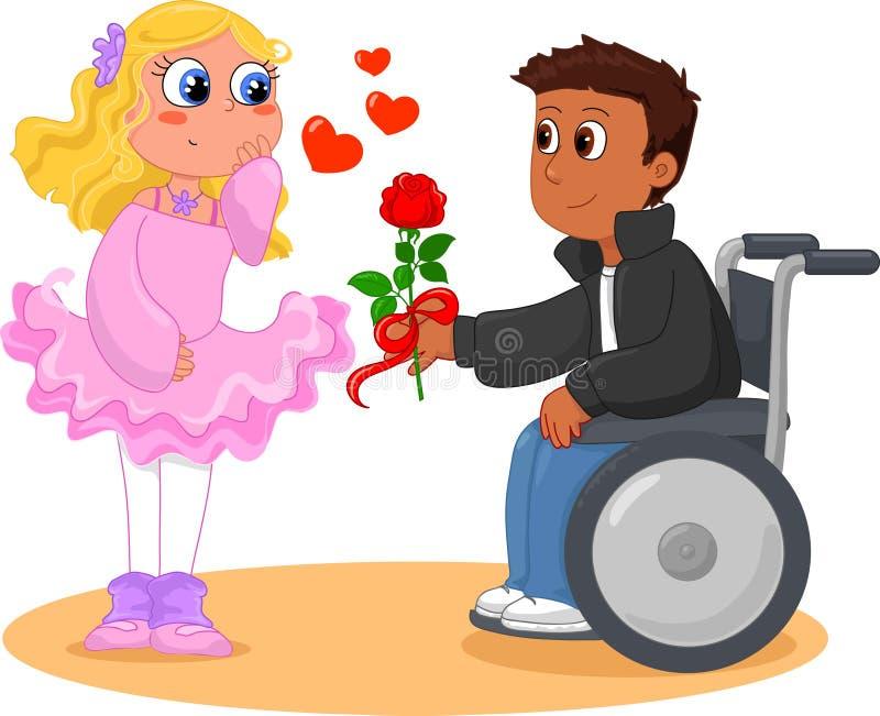 Αγόρι στην αναπηρική καρέκλα και όμορφο κορίτσι ελεύθερη απεικόνιση δικαιώματος