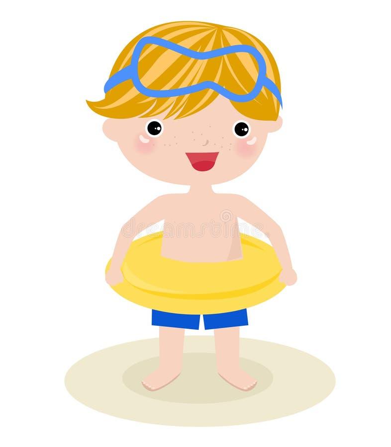 Αγόρι στην παραλία ελεύθερη απεικόνιση δικαιώματος