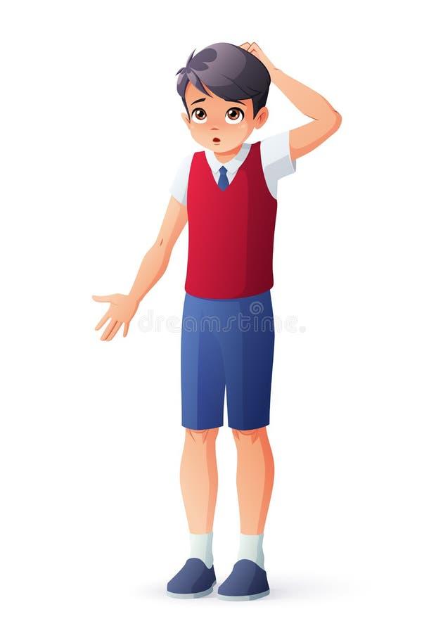 Αγόρι στη σχολική στολή που γρατσουνίζει το κεφάλι του Απομονωμένη διανυσματική απεικόνιση διανυσματική απεικόνιση