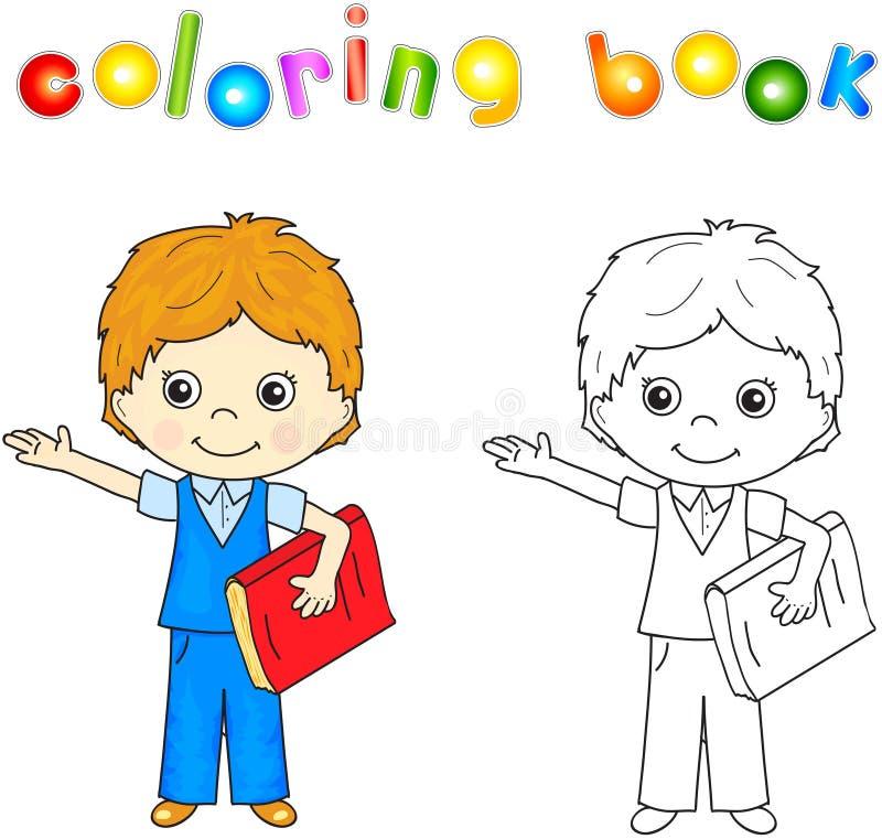 Αγόρι στη σχολική στολή με το κόκκινο βιβλίο Χρωματίζοντας βιβλίο για τα παιδιά απεικόνιση αποθεμάτων