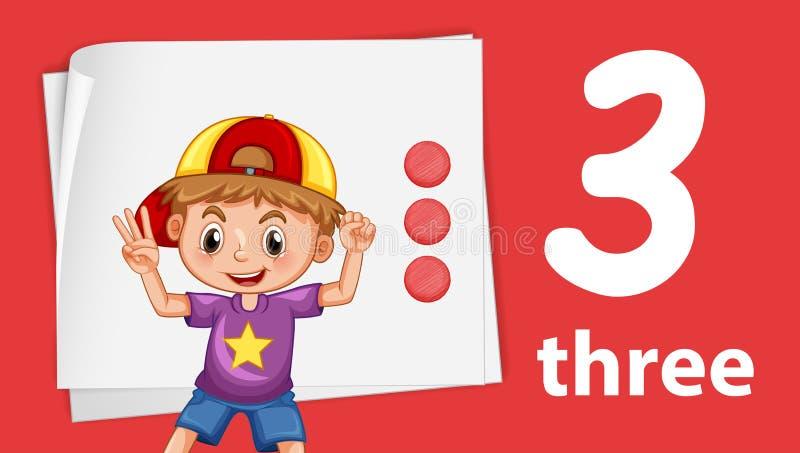 Αγόρι στον αριθμό τρία πρότυπο απεικόνιση αποθεμάτων