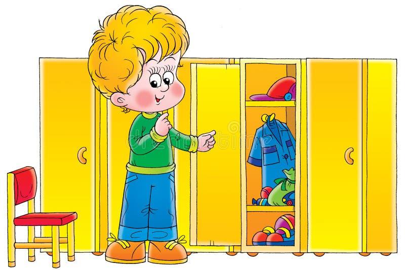 Αγόρι στο βεστιάριο διανυσματική απεικόνιση