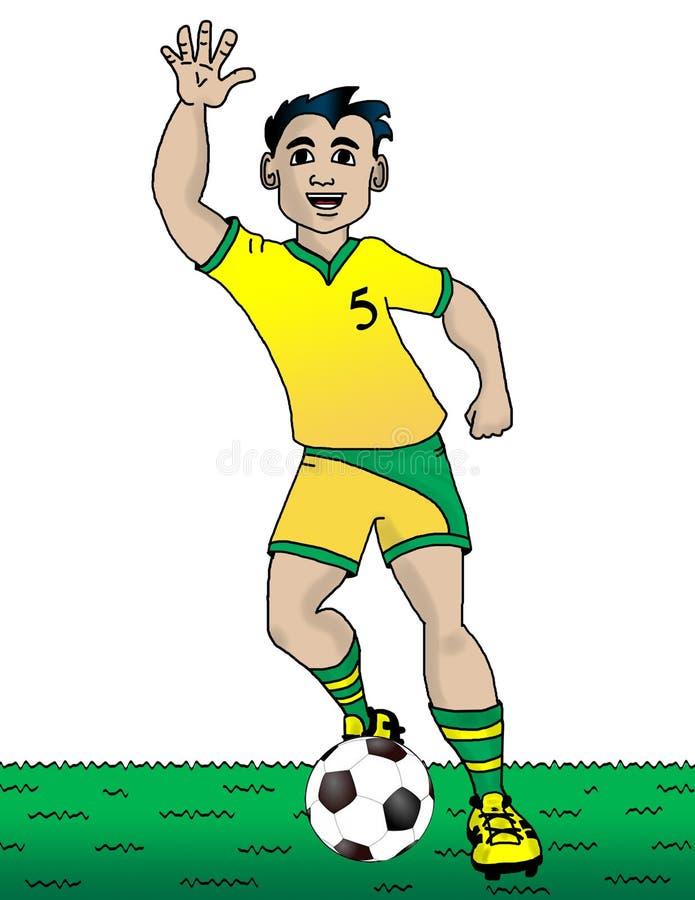 Αγόρι στο πράσινο και κίτρινο ομοιόμορφο παιχνίδι ποδοσφαίρου με τη σφαίρα ποδοσφαίρου στοκ εικόνες με δικαίωμα ελεύθερης χρήσης