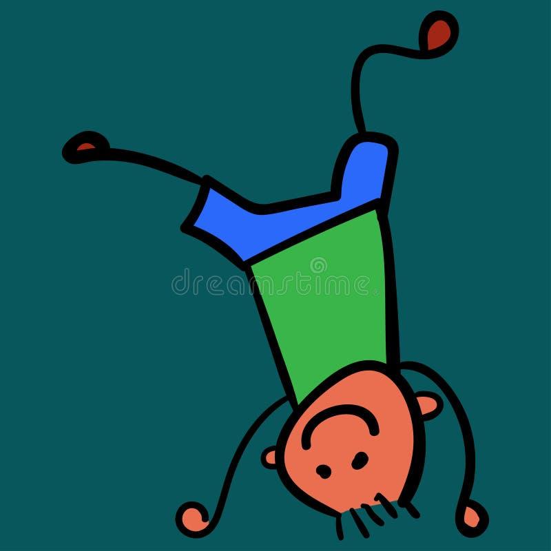 Αγόρι στο ύφος του χρώματος σχεδίων των παιδιών ελεύθερη απεικόνιση δικαιώματος