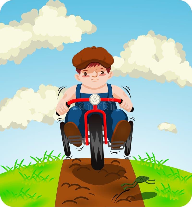 Αγόρι στο trike ελεύθερη απεικόνιση δικαιώματος